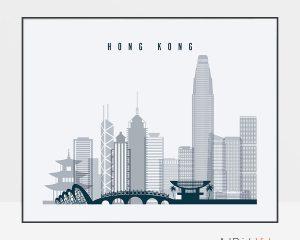 Hong Kong skyline art grey blue landscape