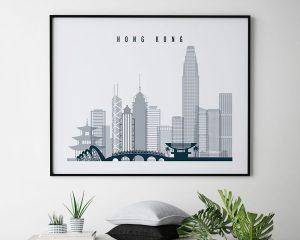 Hong Kong skyline art grey blue landscape second