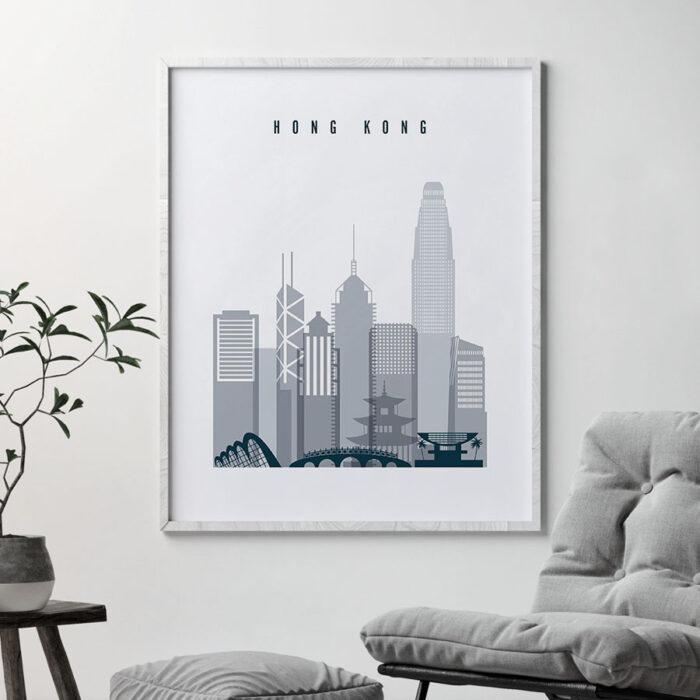 Hong Kong skyline poster grey blue second