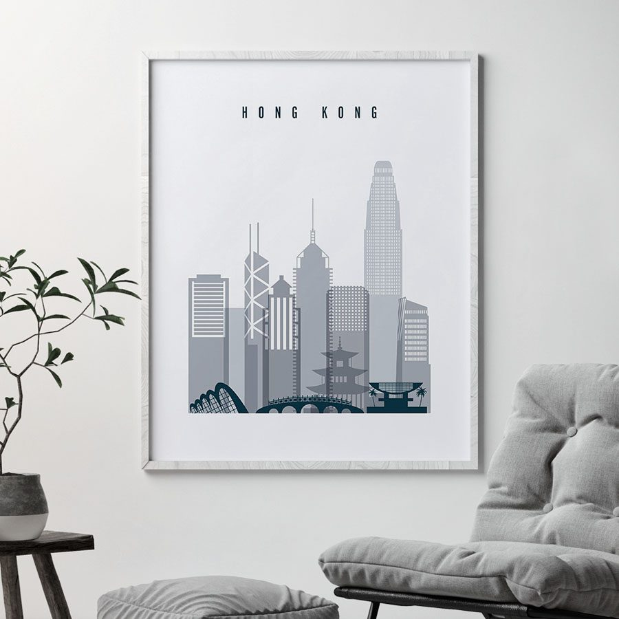 Hong Kong skyline poster grey blue second
