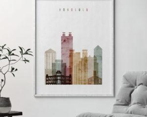 Honolulu art print watercolor 1 second
