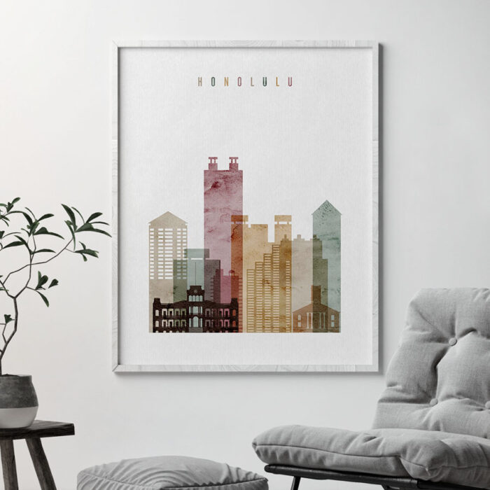 Honolulu art print watercolor 1 second