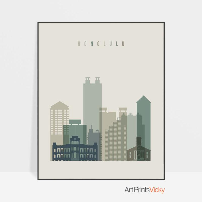 Honolulu print skyline earth tones 1