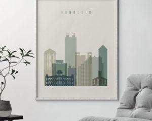 Honolulu print skyline earth tones 1 second