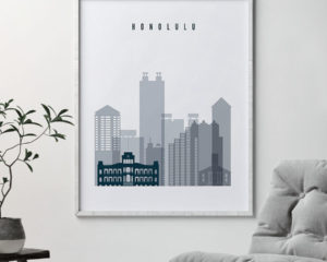 Honolulu skyline poster grey blue