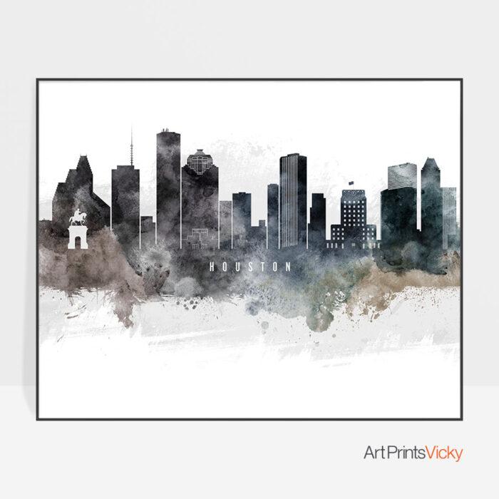 Houston art poster watercolor