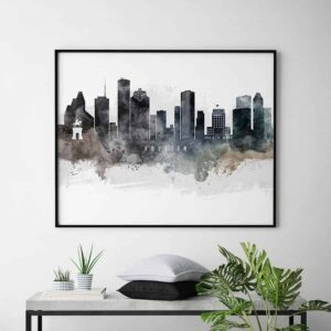 Houston art poster watercolor second
