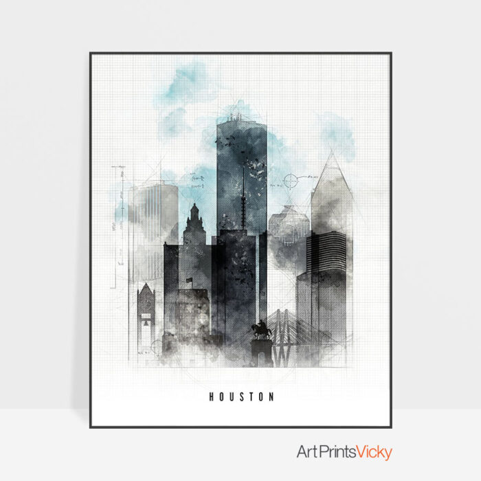 Houston skyline art print urban