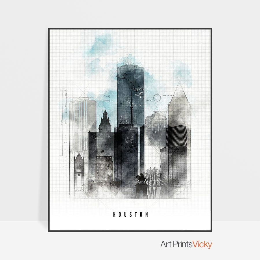 Houston skyline art print urban