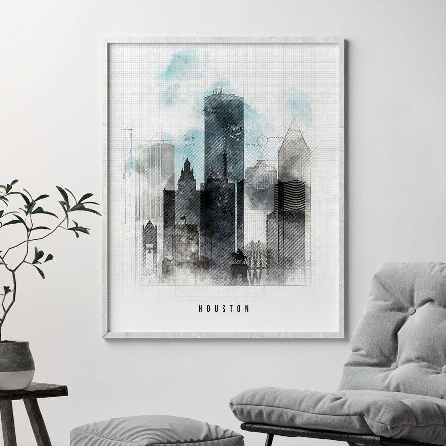 Houston skyline art print urban second