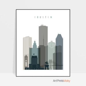 Houston art print skyline earth tones 4