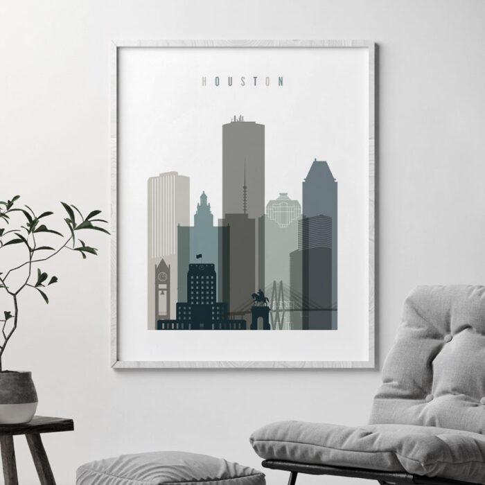 Houston art print skyline earth tones 4 second