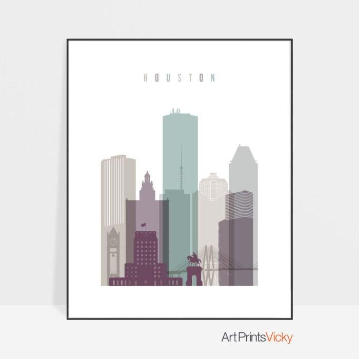 Houston skyline print pastel 2