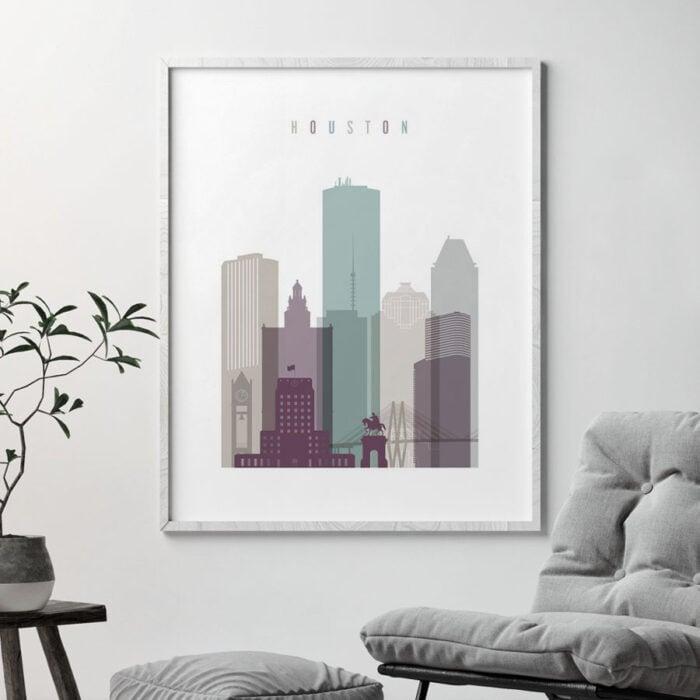 Houston skyline print pastel 2 second