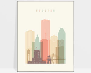 Houston art print skyline pastel cream