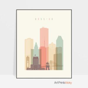 Houston art print skyline pastel cream