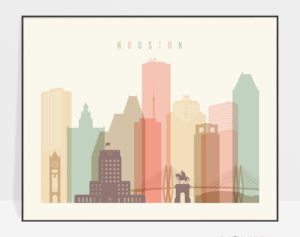 Houston travel poster pastel cream landscape