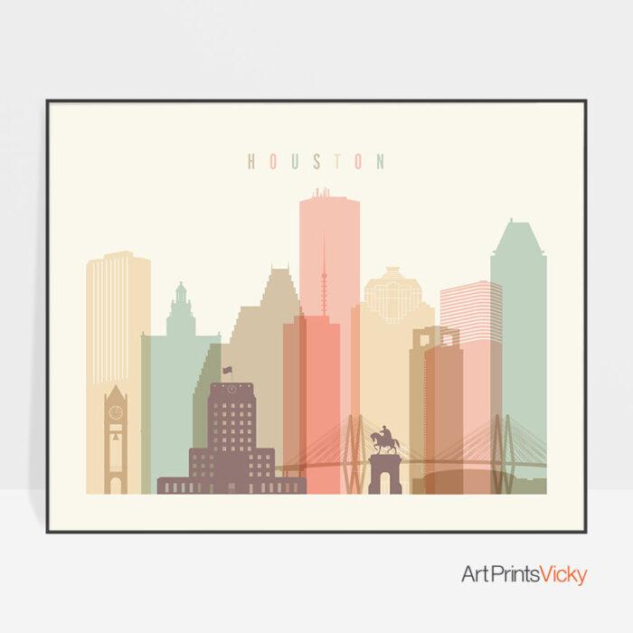 Houston travel poster pastel cream landscape