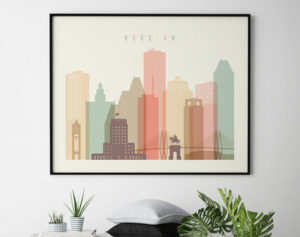 Houston travel poster pastel cream landscape second