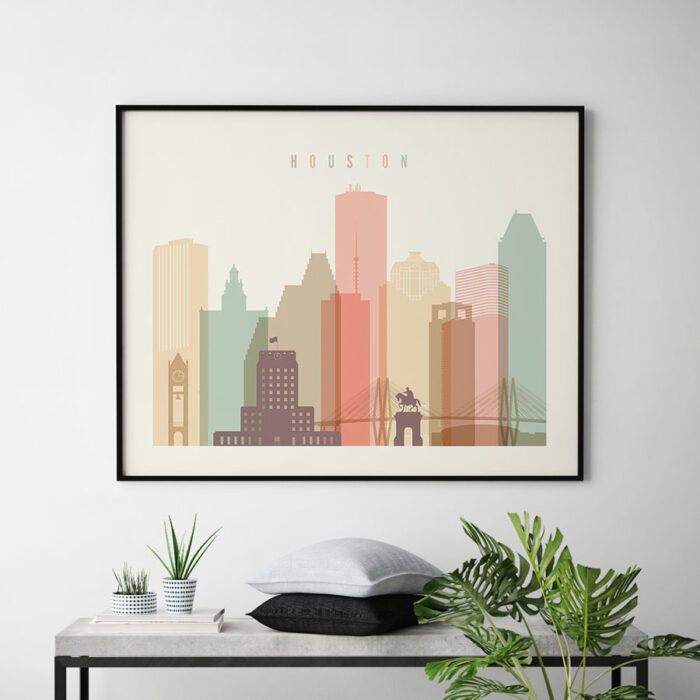 Houston travel poster pastel cream landscape second