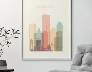 Houston art print skyline pastel cream second