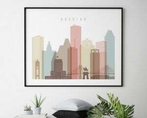 Houston wall art pastel white landscape second