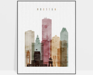 Houston skyline poster watercolor 1