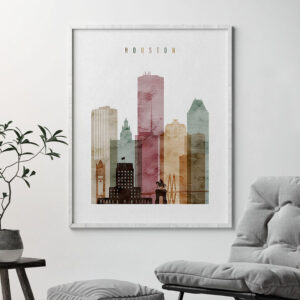 Houston skyline poster watercolor 1 second