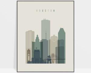 Houston print skyline earth tones 1