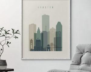 Houston print skyline earth tones 1 second