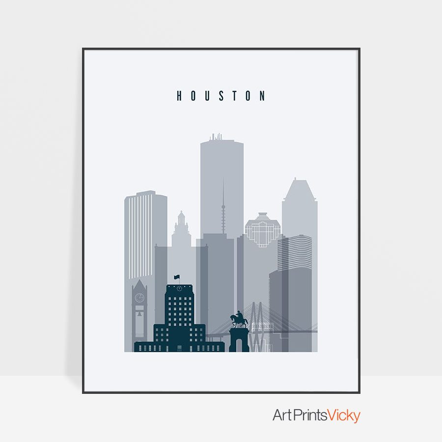 Houston skyline poster grey blue