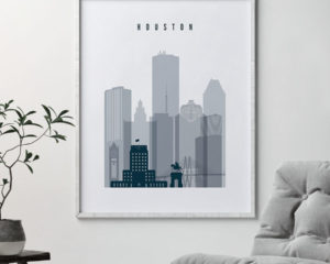 Houston skyline poster grey blue