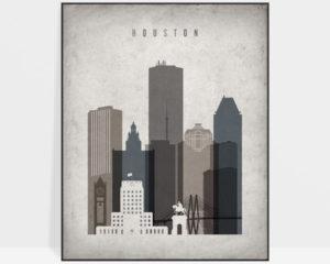 Houston skyline wall art retro
