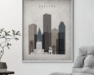 Houston skyline wall art retro second