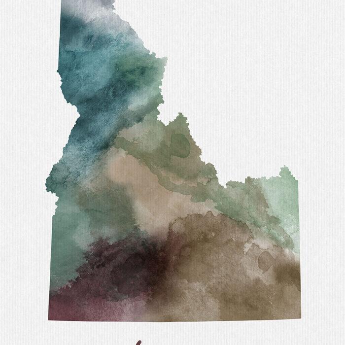 Idaho State map print detail