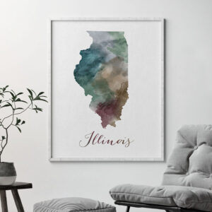 Illinois State map print second