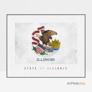 Illinois State flag art print