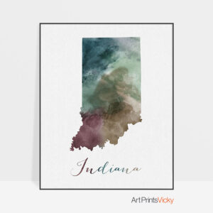 Indiana State map print