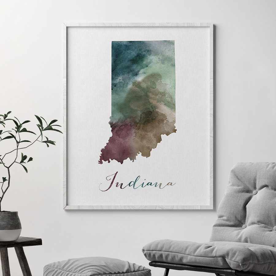 Indiana State map print second