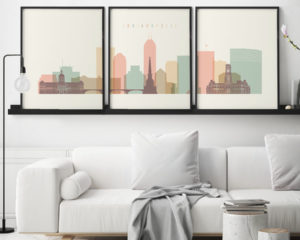 Indianapolis skyline set of 3 prints pastel cream second