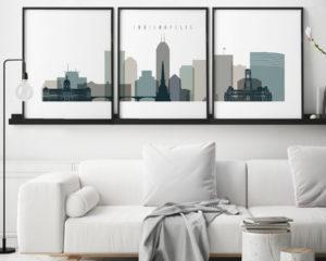 Indianapolis wall art set of 3 prints earth tones 4 second
