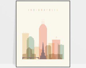 Indianapolis art print skyline pastel cream