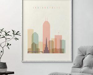 Indianapolis art print skyline pastel cream second