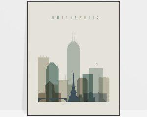Indianapolis print skyline earth tones 1