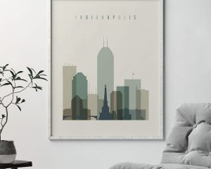 Indianapolis print skyline earth tones 1 second