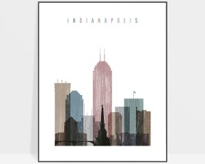 Indianapolis skyline poster distressed 1