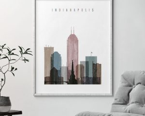 Indianapolis skyline poster distressed 1 second