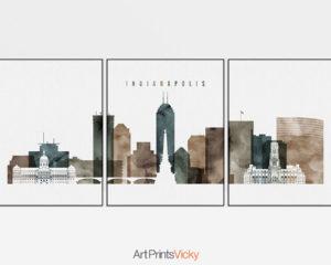 Indianapolis skyline art set of 3 prints watercolor 2