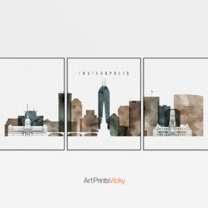 Indianapolis skyline art set of 3 prints watercolor 2