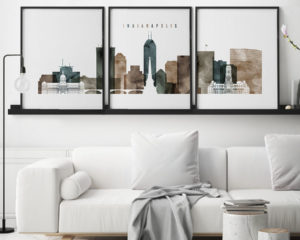 Indianapolis skyline art set of 3 prints watercolor 2 second